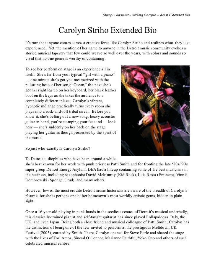 music artist press release template - writing sample musician extended bio