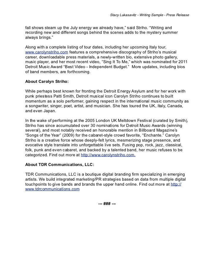 Writing Sample - Musician Press Release
