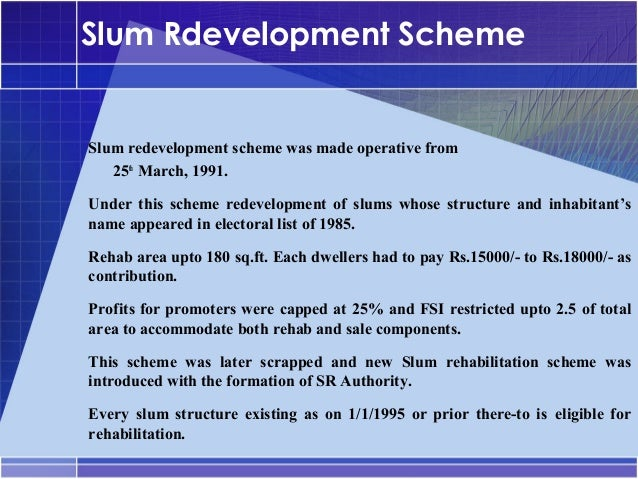 Dissertation on slum redevelopment authority
