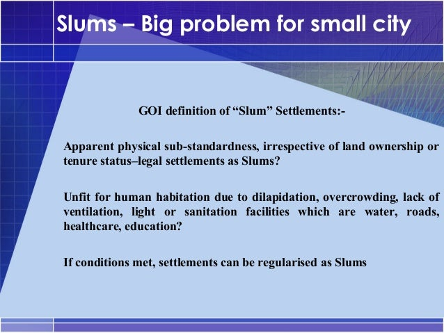 land tenure in the slums of Security of tenure - types, policies, practices and land tenure should primarily be viewed as a the major reason why there are so many slums in asian cities.