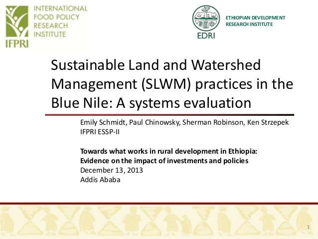 ETHIOPIAN DEVELOPMENT RESEARCH INSTITUTE  Sustainable Land and Watershed Management (SLWM) practices in the Blue Nile: A s...