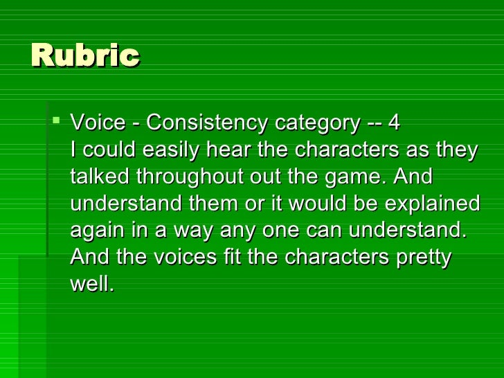 Rubric <ul><li>Voice - Consistency category -- 4 I could easily hear the characters as they talked throughout out the game...