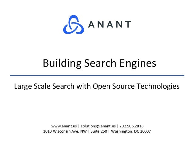 www.anant.us | solutions@anant.us | 202.905.2818 1010 Wisconsin Ave, NW | Suite 250 | Washington, DC 20007 Large Scale Sea...