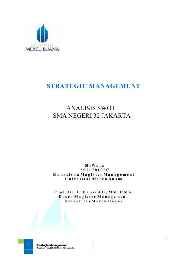 Sm Siti Waliha Hapzi Ali Analisis Swot Universitas Mercubuana 2018