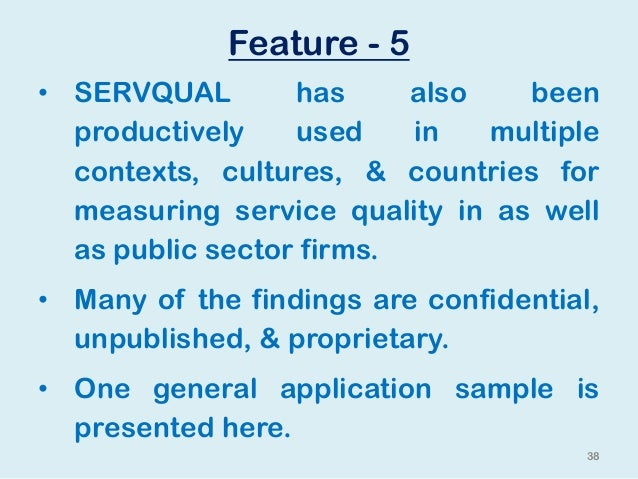 service quality dimension Lesson 2 the dimensions of quality  operationalizing the kqcah service dimension of respect and caring could result in metrics such as degree of personal.