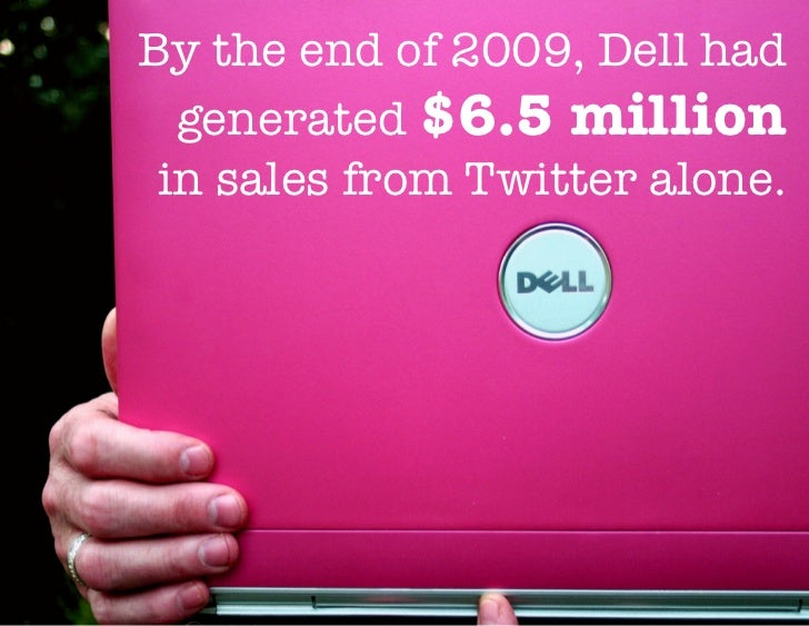 By the end of 2009, Dell had  generated $6.5 million in sales from Twitter alone.