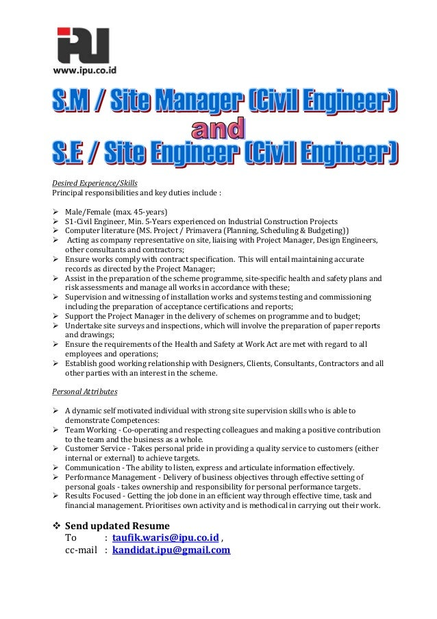 desired experienceskills principal responsibilities and key duties include malefemale - Duties Of A Civil Engineer