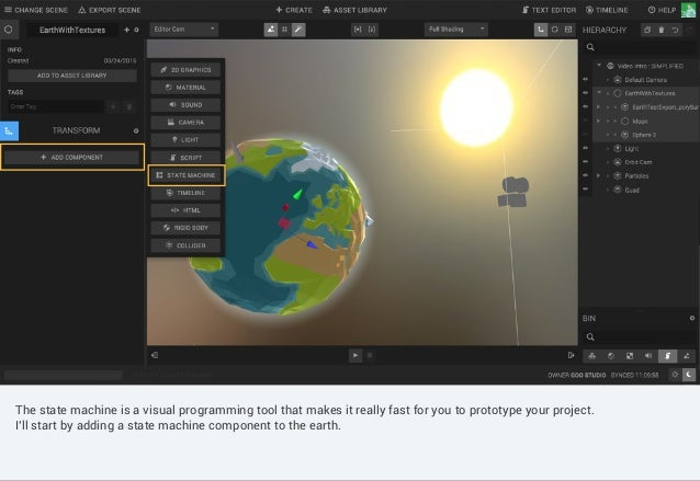 Controls such as shading mode, gizmo switch, camera selection can be found in the canvas menu. The state machine is a visu...
