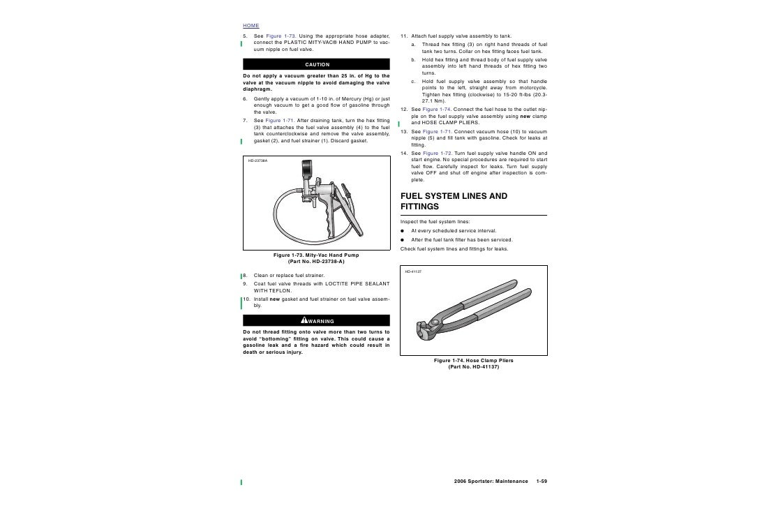 HOME 5.     See Figure 1-73. Using the appropriate hose adapter,        11. Attach fuel supply valve assembly to tank.    ...