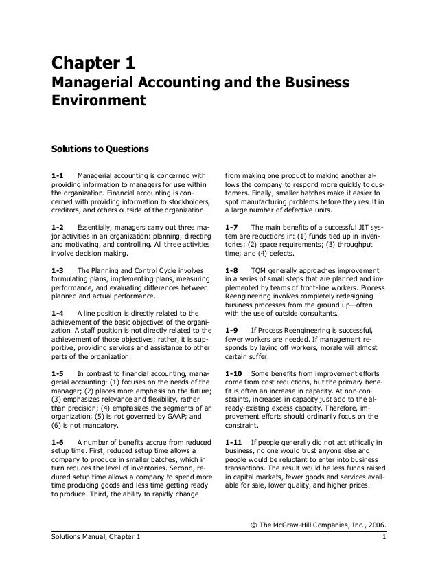 garrison norren 11th ed managerial accounting solution of chapter 1 rh slideshare net Managerial Accounting Book financial and managerial accounting 13e solutions manual