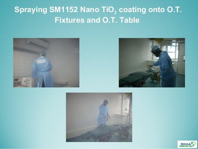 Spraying SM1152 Nano TiO2 coating onto O.T.Fixtures and O.T. Table