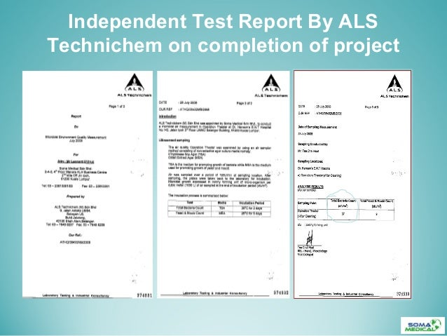 Independent Test Report By ALSTechnichem on completion of project