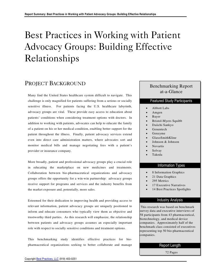 Report Summary: Best Practices in Working with Patient Advocacy Groups: Building Effective RelationshipsBest Practices in ...