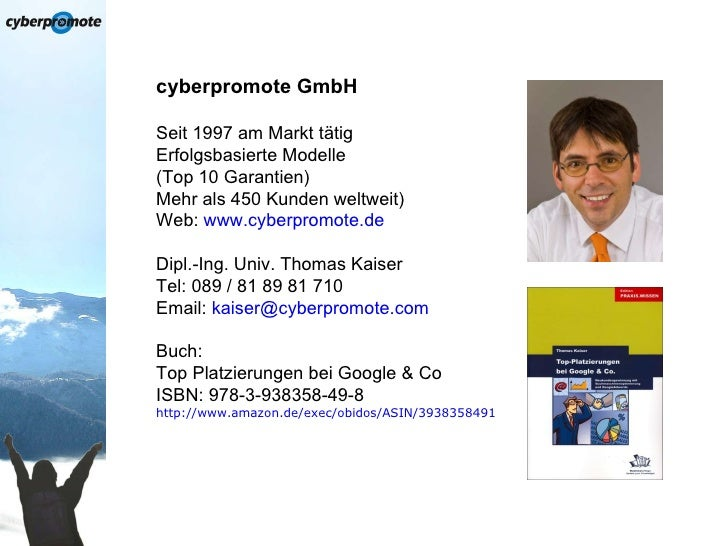 SEO-Vortrag auf der Sales & Marketing 2010 (cyberpromote GmbH) Slide 2