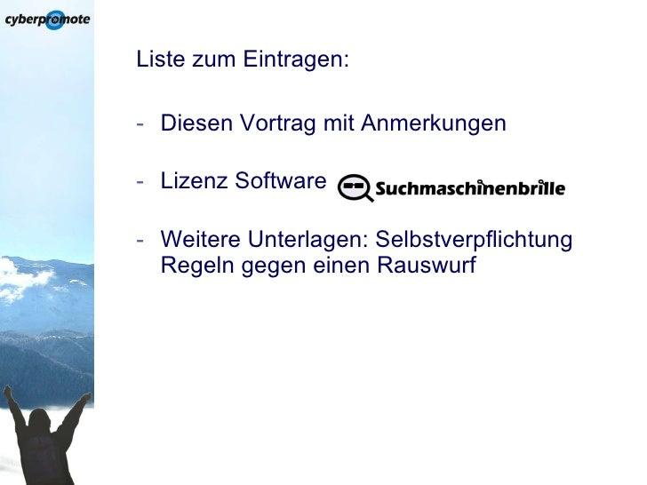 SEO-Vortrag auf der Sales & Marketing 2010 (cyberpromote GmbH) Slide 3