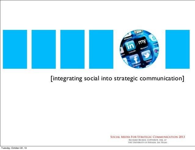 [integrating social into strategic communication]  Social Media For Strategic Communication 2013 Richard Becker, Copywrite...