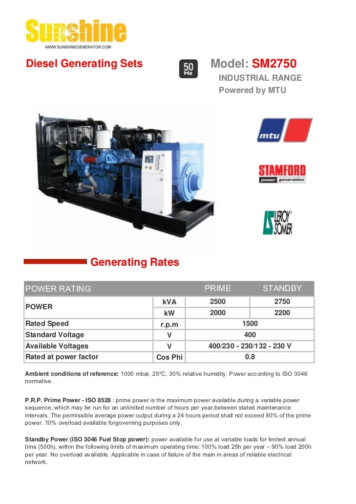 Diesel Generating Sets                                              Model: SM2750                                         ...