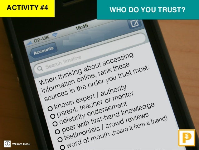 William Hook When thinking about accessing information online, rank these sources in the order you trust most: WHO DO YOU ...