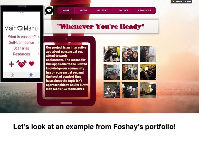 Let's look at an example from Foshay's portfolio!