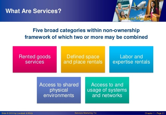What Are Services? Five broad categories within non-ownership framework of which two or more may be combined  Rented goods...