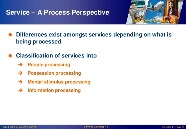Service – A Process Perspective  Differences exist amongst services depending on what is being processed   Classificatio...