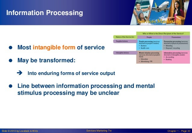 Information Processing   Most intangible form of service  May be transformed:  Into enduring forms of service output  ...