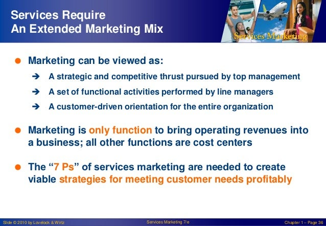 Services Require An Extended Marketing Mix  Marketing can be viewed as:  A strategic and competitive thrust pursued by t...