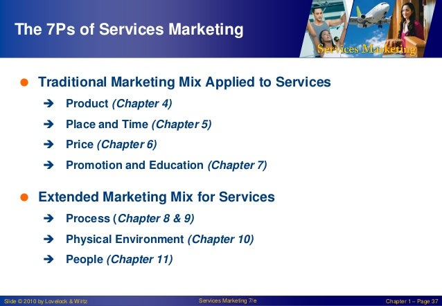 The 7Ps of Services Marketing  Traditional Marketing Mix Applied to Services  Product (Chapter 4)   Place and Time (Cha...