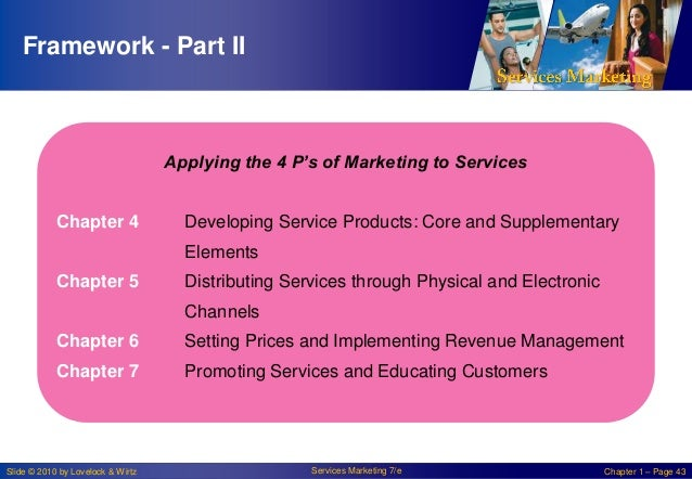 Framework - Part II  Applying the 4 P's of Marketing to Services Chapter 4  Developing Service Products: Core and Suppleme...
