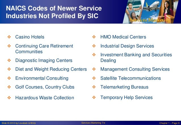 NAICS Codes of Newer Service Industries Not Profiled By SIC  Casino Hotels   HMO Medical Centers   Continuing Care Reti...