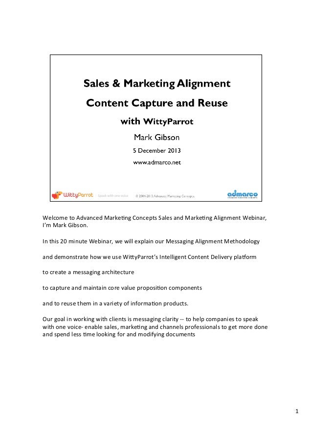 Welcome	   to	   Advanced	   Marke1ng	   Concepts	   Sales	   and	   Marke1ng	   Alignment	   Webinar,	    I'm	   Mark	   ...