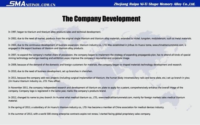 Summary of Zhejiang Ruipu Ni-Ti Shape Memory Alloy Co.,Ltd Slide 3
