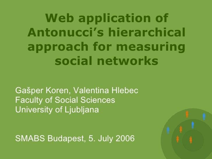 Web application of Antonucci's hierarchical approach for measuring social networks <ul><ul><li>Gašper Koren, Valentina Hle...