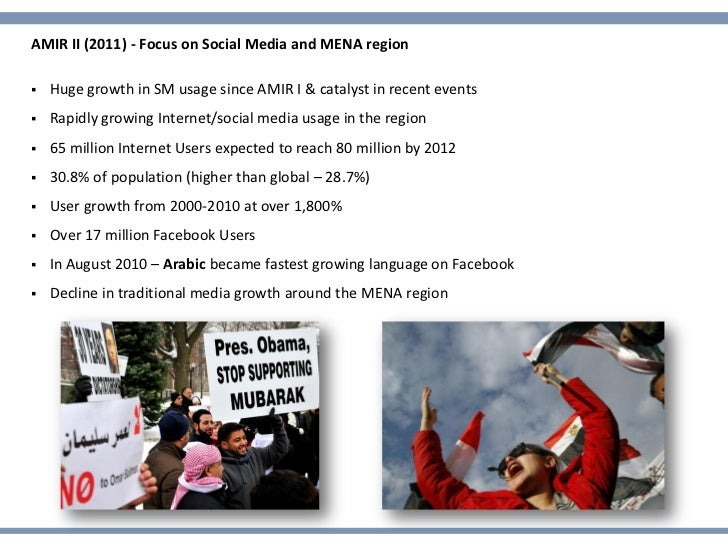 AMIR II (2011) - Focus on Social Media and MENA region   Huge growth in SM usage since AMIR I & catalyst in recent events...