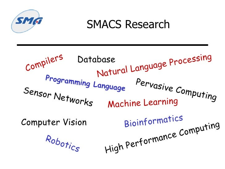 SMACS Research Compilers Programming Language Database Sensor Networks Computer Vision Machine Learning Natural Language P...
