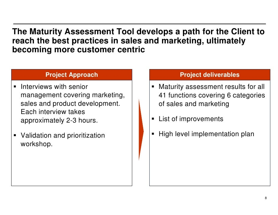 The Maturity Assessment Tool develops a path for the Client to reach the best practices in sales and marketing, ultimately...