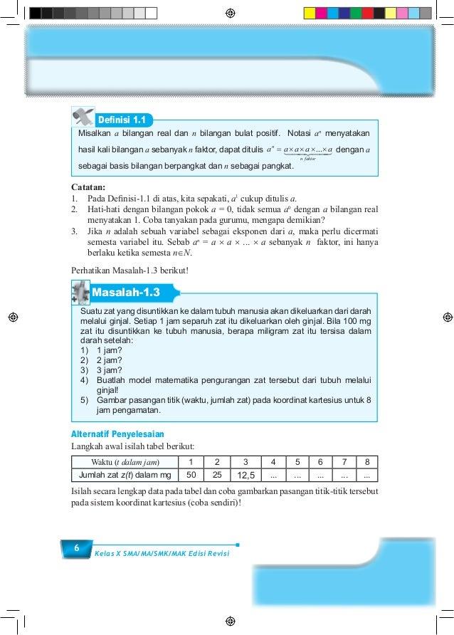 6 Kelas X SMA/MA/SMK/MAK Edisi Revisi Misalkan a bilangan real dan n bilangan bulat positif. Notasi an menyatakan hasil ka...