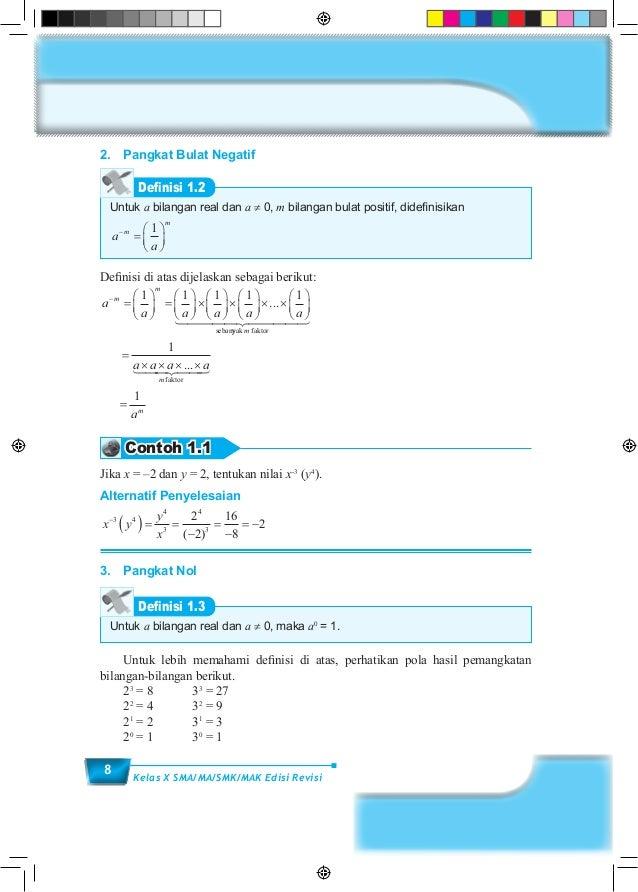 8 Kelas X SMA/MA/SMK/MAK Edisi Revisi 2. Pangkat Bulat Negatif Untuk a bilangan real dan a ≠ 0, m bilangan bulat positif,...