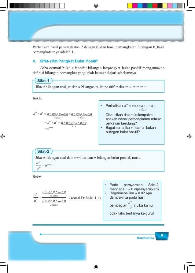 9Matematika Perhatikan hasil pemangkatan 2 dengan 0, dan hasil pemangkatan 3 dengan 0, hasil perpangkatannya adalah 1. 4....