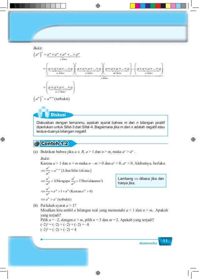 11Matematika Bukti: a a a a a a a a a m n m m m m n m ( ) = × × × × = × × × × ... ... faktor faktor       × × × × ...