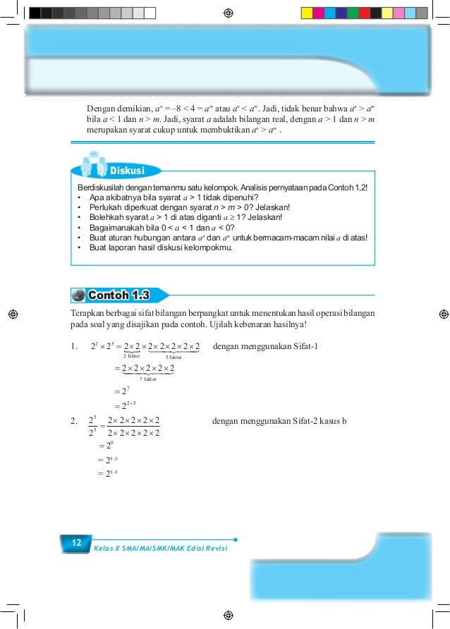 12 Kelas X SMA/MA/SMK/MAK Edisi Revisi  Dengan demikian, an = –8 < 4 = am atau an < am . Jadi, tidak benar bahwa an > am ...