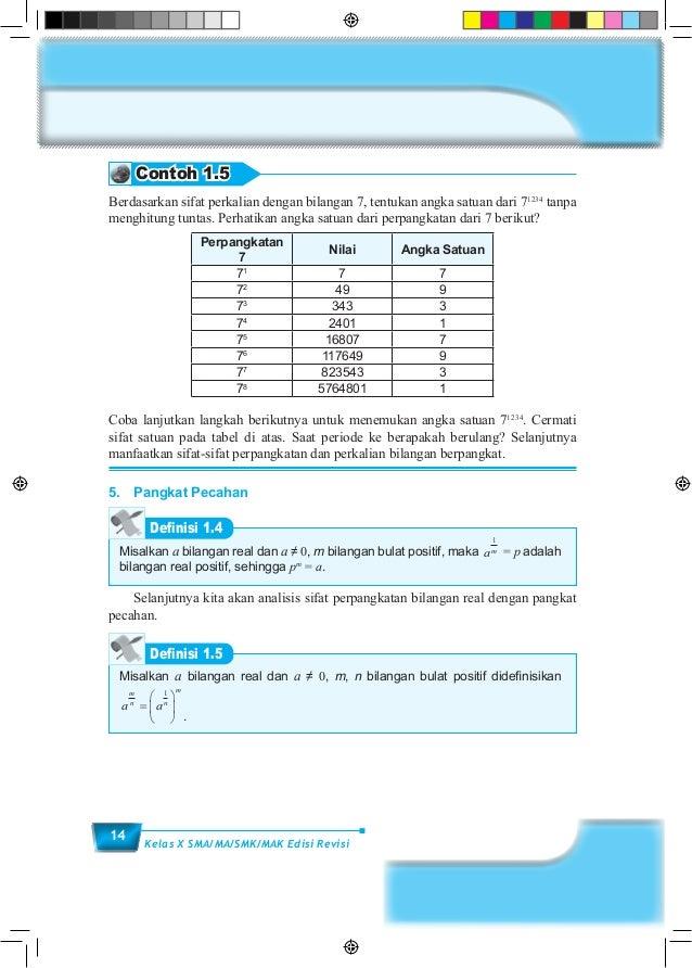 14 Kelas X SMA/MA/SMK/MAK Edisi Revisi Contoh 1.5 Berdasarkan sifat perkalian dengan bilangan 7, tentukan angka satuan dar...