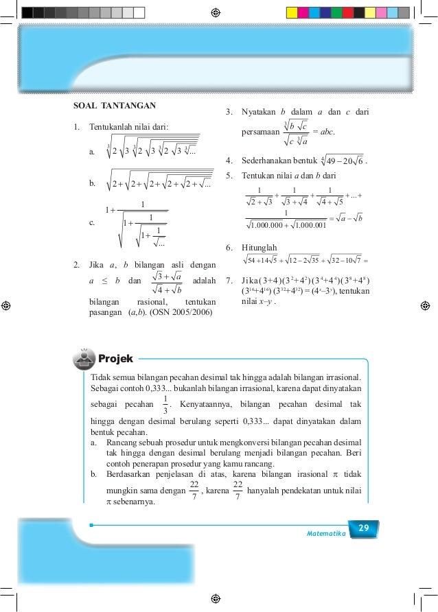 29Matematika SOAL TANTANGAN 1. Tentukanlah nilai dari: a. 2 3 2 3 2 3 ...3333 b.2 2 2 2 2+ + + + + ... c. 1 1 1 1 1...