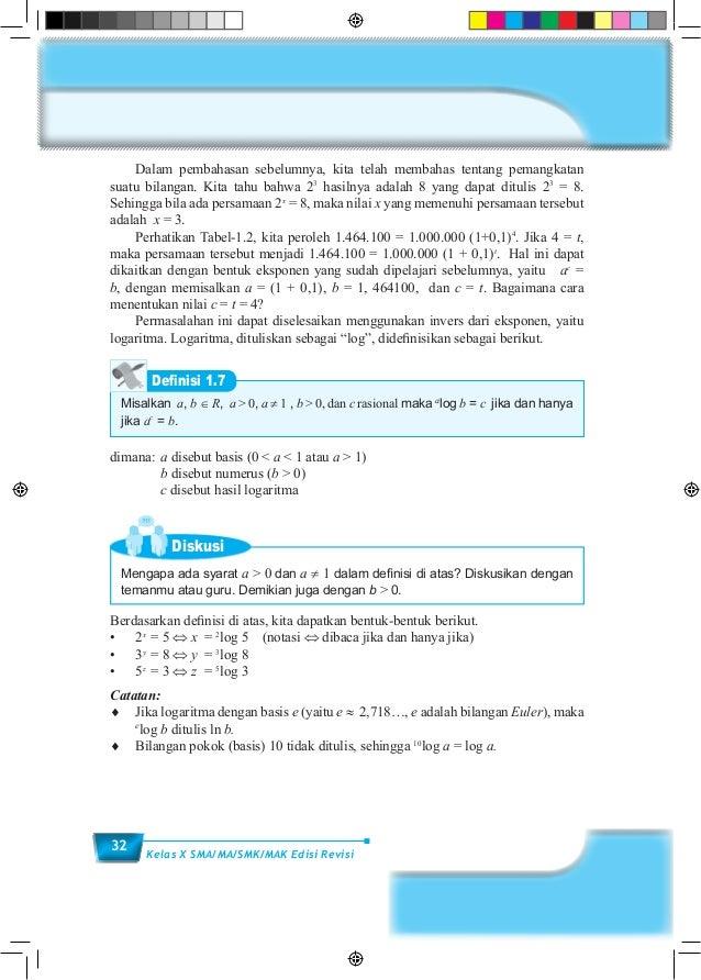 32 Kelas X SMA/MA/SMK/MAK Edisi Revisi  Dalam pembahasan sebelumnya, kita telah membahas tentang pemangkatan suatu bilang...