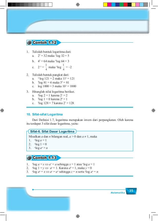 35Matematika Contoh 1.12 1. Tulislah bentuk logaritma dari:  a.25 = 32 maka 2 log 32 = 5  b.43 = 64 maka 4 log 64 = 3...
