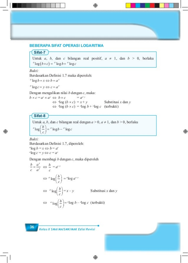 36 Kelas X SMA/MA/SMK/MAK Edisi Revisi BEBERAPA SIFAT OPERASI LOGARITMA Sifat-7 Untuk a, b, dan c bilangan real positif, a...