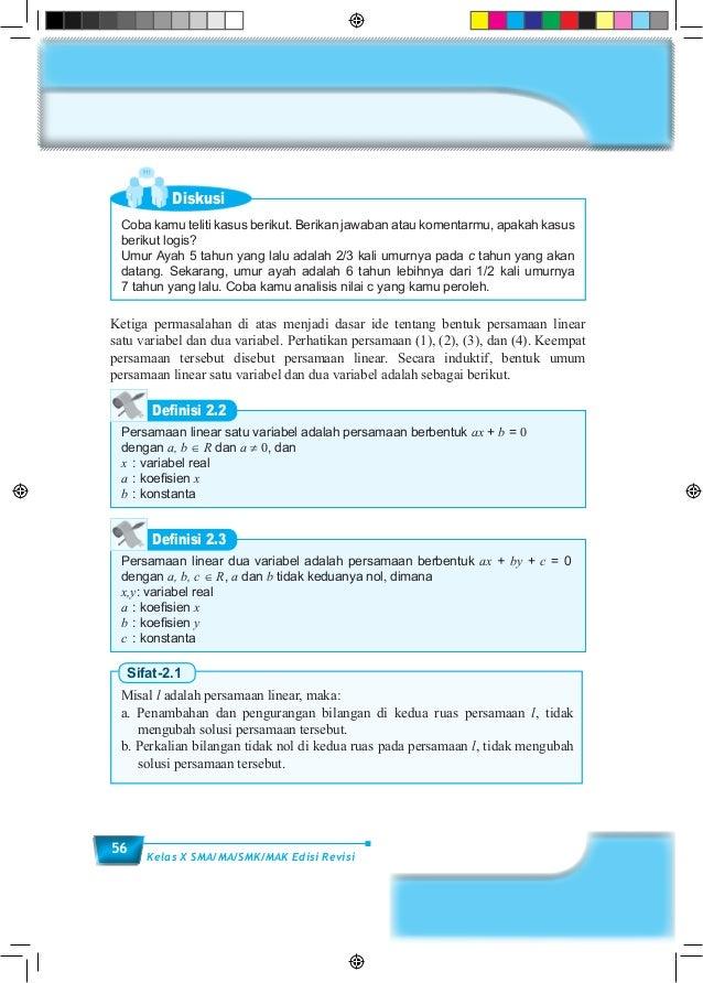 56 Kelas X SMA/MA/SMK/MAK Edisi Revisi Diskusi Coba kamu teliti kasus berikut. Berikan jawaban atau komentarmu, apakah kas...
