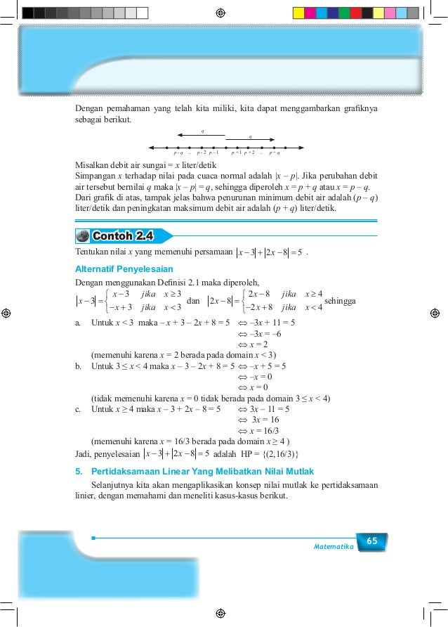 65Matematika Dengan pemahaman yang telah kita miliki, kita dapat menggambarkan grafiknya sebagai berikut. p - q p - 2 p - ...