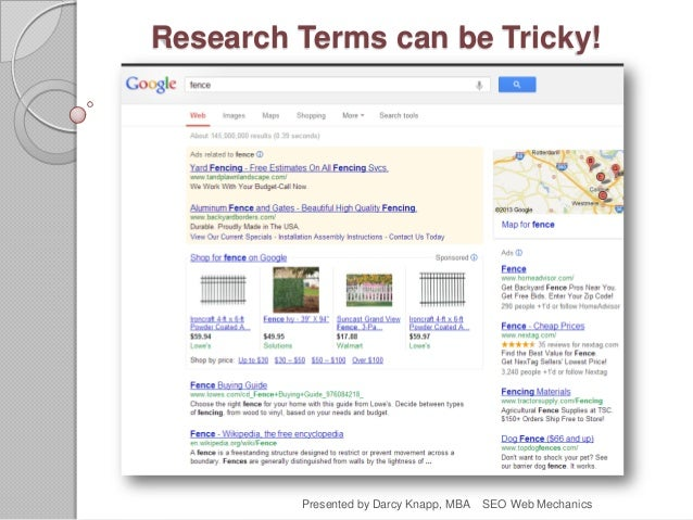 Research Terms can be Tricky! Presented by Darcy Knapp, MBA SEO Web Mechanics