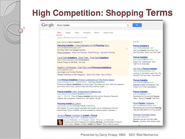 High Competition: Shopping Terms Presented by Darcy Knapp, MBA SEO Web Mechanics